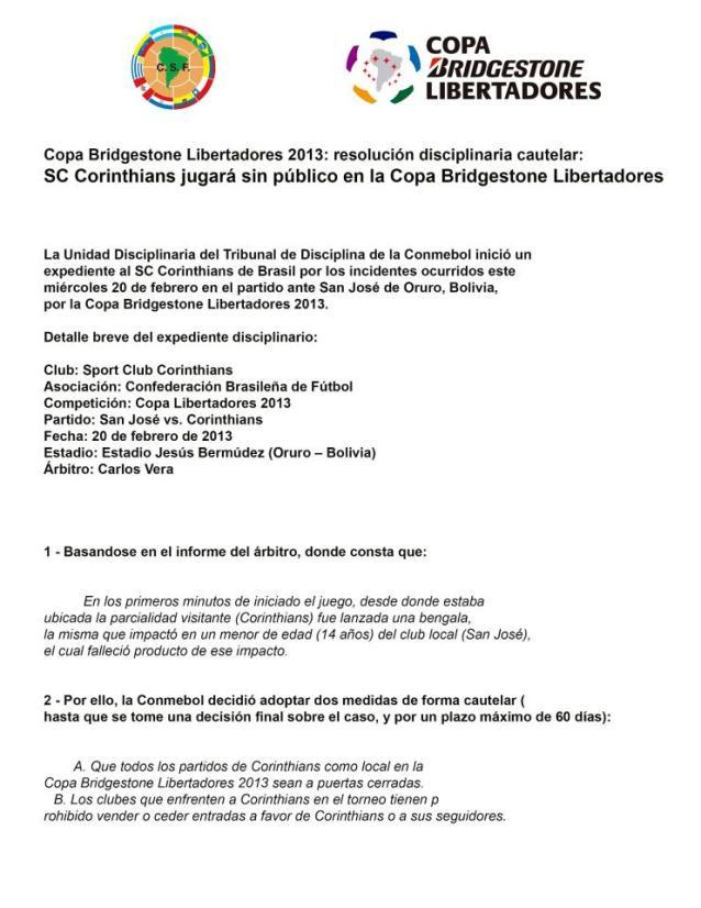 Nota-Conmebol-Corinthians-jogo-com-portões-fechados-FuteRock
